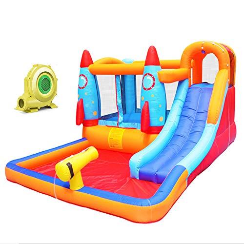 WANGZI Centro de juegos de tobogán acuático inflable, castillo de salto hinchable para niños con soplador de aire, fiesta de verano para jardín al aire libre