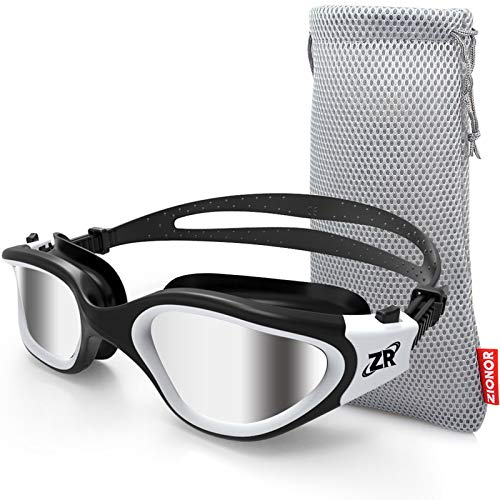 ZIONOR Swimming Goggles, G1 Polarized Swim Goggles UV Protection Watertight Anti-Fog Adjustable Strap Comfort fit for Unisex Adult Men and Women (Polarized Mirror Lens Black White)