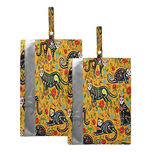 Mnsruu Dia De Los Muertos - Bolsas de viaje para zapatos (2 unidades, tamaño estándar: 23 x 38 cm), color amarillo