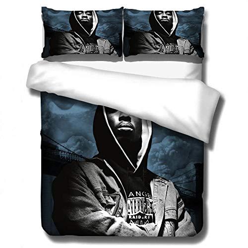 Tupac 2Pac ropa de cama con funda nórdica impresa rapero, cama individual suave y cómoda 3D cama doble para adultos y adolescentes edredón ropa de cama textiles para el hogar-A_200x200cm (3pcs)