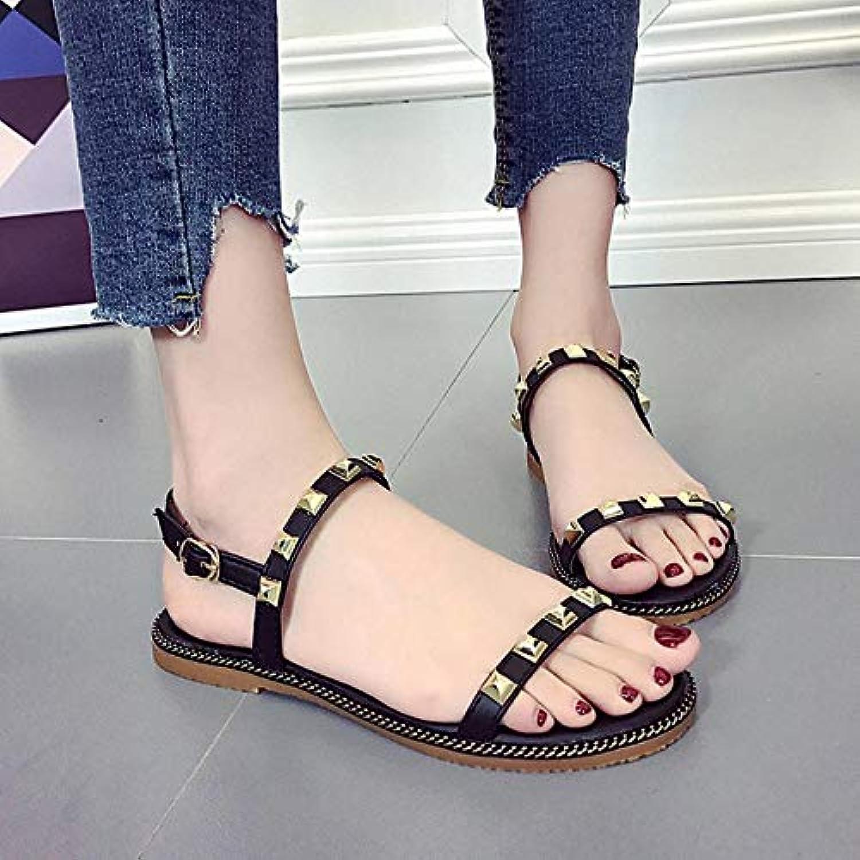 XHH Sandalette Frauen-Beilufige Sandalen-Weibliche Hübsche Niet-Dekorations-Flache Fersensandelholze Sommer