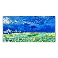 ゴッホ《曇り空の下の麦畑》帆布絵画アートワーク美的写真ポスター壁掛け装飾家の装飾50x105cm(20x41in)フレームワーク