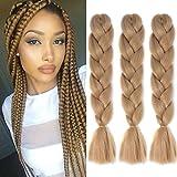 Jumbo Braids Colorful Synthetic Kanekalon Hair Extensions for DIY Crochet Box Braiding 3pcs/Lot 100g/pc 24Inches Dark Blonde