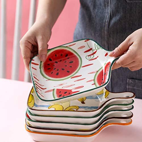 N\C Vajilla de cerámica Set Fruta Creativa Plato de Cena Hogar Sola Manija Bakeware Sandía Piña Ins Hornear