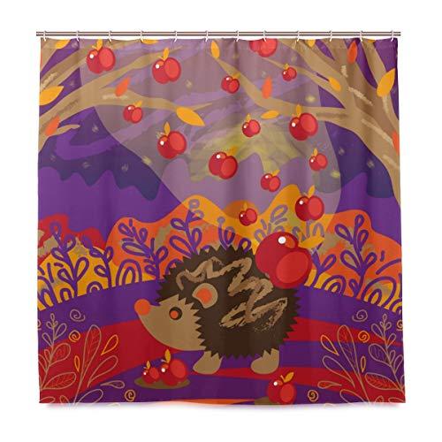 DYCBNESS Duschvorhang,Igel Magischer Waldsammler Äpfel Kinder,Vorhang Waschbar Langhaltig Hochwertig Bad Vorhang Polyester Stoff Wasserdichtes Design,mit Haken 180x180cm
