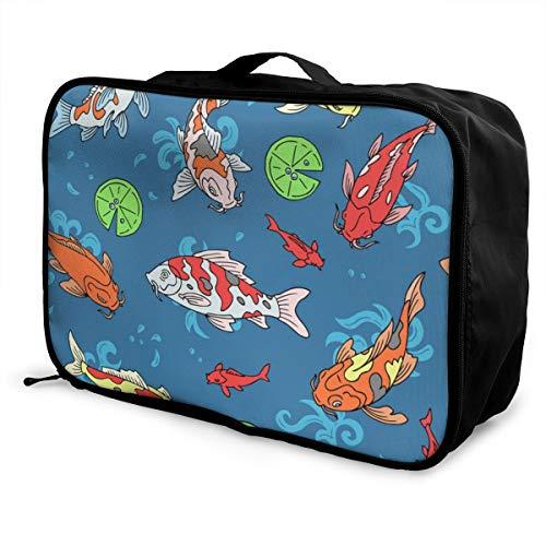 Bolsa de Viaje Plegable de Gran Capacidad para Equipaje portátil (Koi Fish...