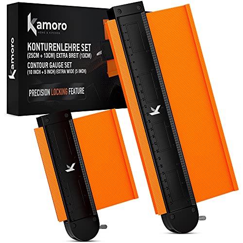 Kamoro Konturenlehre mit Sperrfunktion dank Metall-Schloss - Extra breit (13cm) [im 2er Set] - Profillehre mit Aluminiumkern ideal für Fliesen, Laminat und Holzbearbeitung - 25cm und 13cm Werkzeug