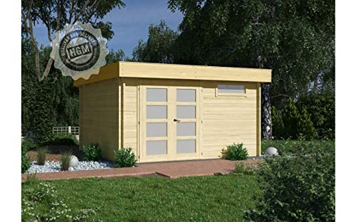 HGM GmbH Gartenhaus München 44E + farbloser Imprägnierung Gartenhaus Holz Holzhaus