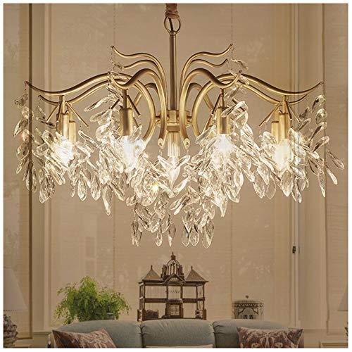 MEILINL Modern Gold Crystal Pendant Lighting Clear Glass K9 Crystal With 7/9-lights Flush Mount Ceiling Light Hanging Chain Is 50cm Adjustable For Dining Room Bedroom Kitchen Living Room