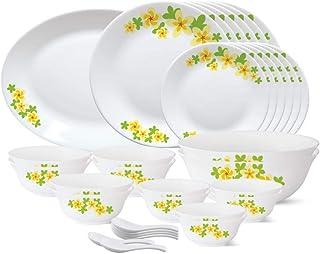 Larah by Borosil - Tiara Series, Golden Shower, 33 Pcs, Opalware Dinner Set, White