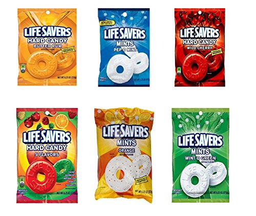 Life Savers Hard Candy, Individually Wrapped, Variety Pack - Butter Rum, Pep O Mint, Wild Cherry, 5 Flavors, Orange, Wint O Green, 6.25oz each bag (Pack of 6)