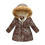 Girl's Floral Print Winter Coats Fleece Lined Hood Jacket Parkas Outwear Thick Warm Windproof Jackets Coat 2-10 Years