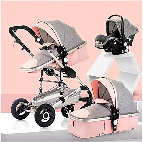 Cochecito de bebé 3 en 1 Sistema de viaje Cochecito de cochecito con asiento para bebés, cochecito de niño anti-shock de alto paisaje con arnés de 5 puntos, incluida la cubierta de la lluvia (color: r
