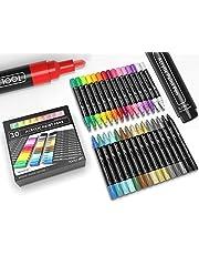TOOLI-ART アクリル ペイント ペン28色30本セット3.0mm中字丸芯 ロックペインティング、ガラス、マグカップ、磁器、木材、布地、キャンバス、工作向き 環境にやさしい、水性、速乾性
