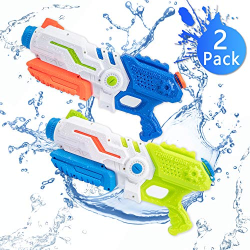 Bheddi Water Gun, 2 Pack 8-12m Long Range Water Blaster for Kids Adults, 700ml High Capacity Water Pistol Toys Fits Outdoor Party Swimming Pool Beach Water Fight Game (Two Pcs)