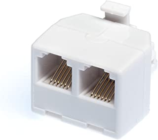 THE CIMPLE CO - Duplex Jack Phone Wall Adapter - 2-Way Phone Splitter (Line 1&2, Line 1&2) - Wall Jack Phone RJ11 Adapter - 4 Conductor Connector (2 Phone Lines) – White, 1 Pack