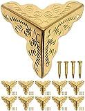 FUXXER® - 10x Antike Möbel-Ecken, Schutz-Ecken, Eck-Schützer, Kanten-Schutz, Beschläge für Kisten Boxen Möbel Regal Tisch, Golden Gold Messing Optik, inklusive Nägel, 10er Set