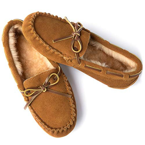 ULTRAIDEAS Women's Genuine Suede Leather Moccasin Slippers, Cozy Memory Foam House Shoes with Faux Fur Lining & Anti-Skid Indoor/Outdoor Rubber Sole, Tan, 11