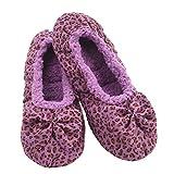 Snoozies Ballerina Womens Slippers - Leopard Slippers for Women - Purple - Medium