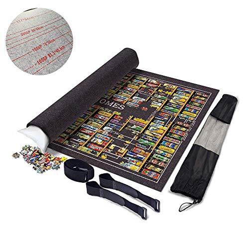 SXJC Puzzles Puzzlerolle Aufbewahrungrolle Teppich Tragbare Jigsaw Rollfilzes Mat Mit Aufbewahrungstasche Für Bis Zu 2000 Teile Puzzle,Schwarz