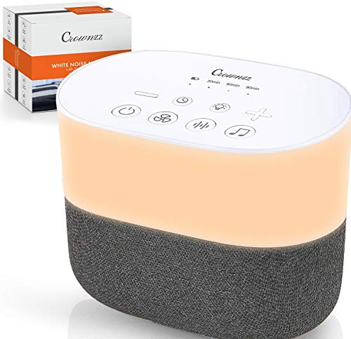 White Noise Machine with Main Powered with USB-Warm Night Light Sleep Sound...