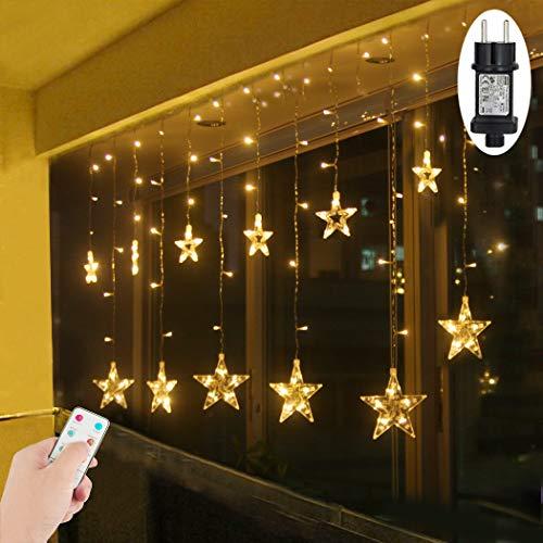LED Lichtervorhang Sterne Warmweiß Innen Fenster für Weihanchten Geburtstag Party Hochzeit IP44 31V Niederspannung mit 8 Modi 2,2Mx1M 108er LEDs Lichterkette für Innen Außen Weihnachtsbeleuchtung