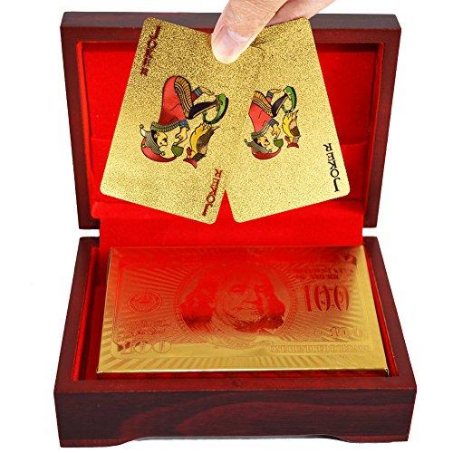 SandiaSummer 24K Gold Foil Playing Cards $100 Dollar Poker Full Deck...