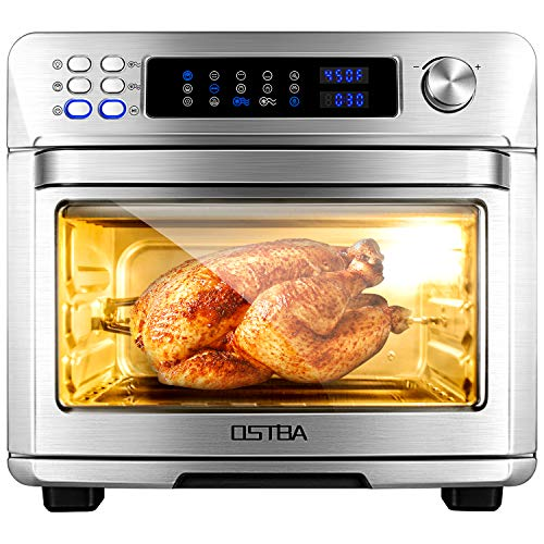 OSTBA Air Fryer Oven 26 Quart 10-in-1 Convection Toaster Oven, Air Fryer, Roaster, Broiler, Rotisserie, Dehydrator, Oven, Toaster, Pizza Oven, Slow Cooker and Keep Warm, 6 Accessories with Recipe Cookbooks, LED Display, 1700W