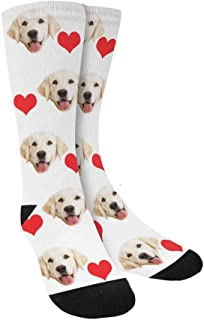 Custom Print Your Photo Pet Face Socks, Personalized Heart Colorful Crew Socks for Men Women