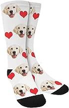Custom Print Your Photo Pet Face Socks, Personalized Heart Colorful Crew Socks for Men Women