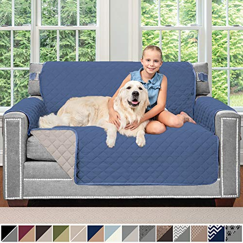 Sofa Shield Original Patent Pending Reversible Loveseat Protector for Seat Width up to 54 Inch, Furniture Slipcover, 2 Inch Strap, Couch Slip Cover Throw for Pets, Dogs, Love Seat, Denim Lt Taupe