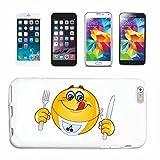 Reifen-Markt Hard Cover - Funda para teléfono móvil Compatible con Samsung Galaxy S4 Mini Sonriente Hambre EN Almuerzo Cena Smiley Smilies Android Apple iPhone EMO