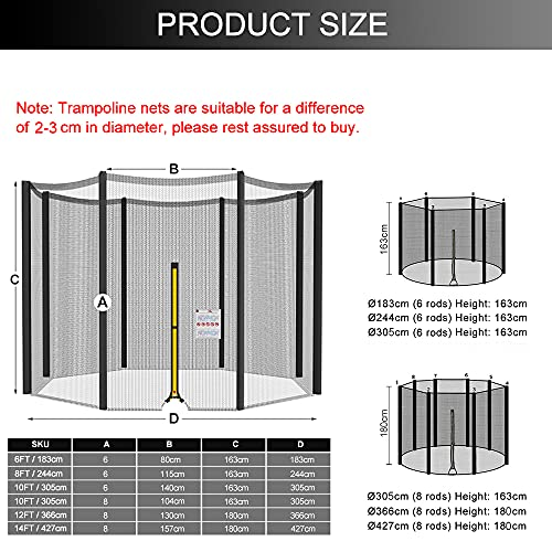 Trampoline Safety Net Enclosure - for 6ft 8ft 10ft 12ft 14ft Replacement Safety Enclosure Net for 6/8 Poles Frame Universal Round Trampoline Enclosure Safety Net (Various Sizes) -Net Only,8ft(6 Poles