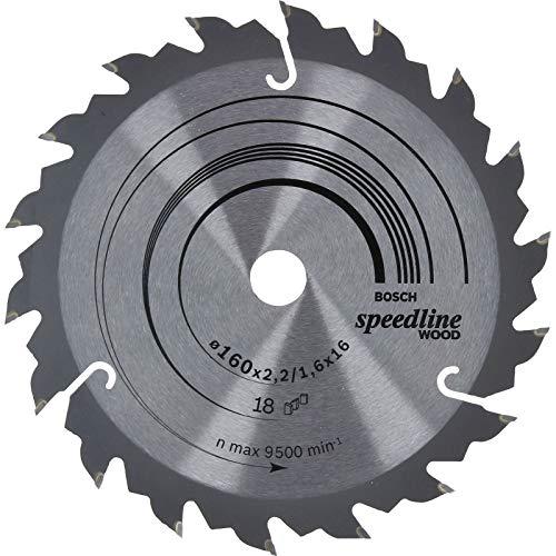 Bosch 2 608 640 785 - Hoja de sierra circular Speedline Wood - 160 x 16 x 2,2 mm, 18 (pack de 1)