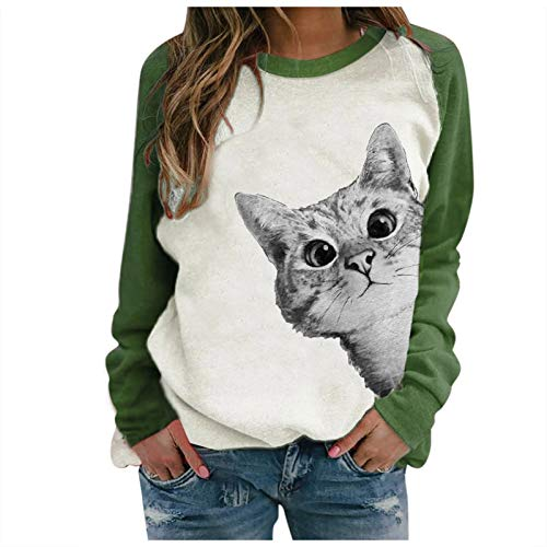 OIKAY Sweatshirts Damen Weihnachten Langarmshirt Christmas Xmas Druck Pullover...