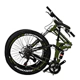 YH-G4 Folding Mountain Bike for Adults 26 Inch Wheels 21 Speed Full Suspension Dual Disc Brakes Foldable Frame Bicycle (ArmyGreen)