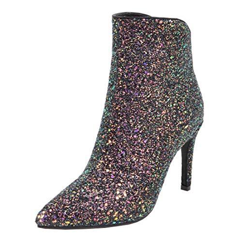LUXMAX Damen Glitzer Stiefeletten High Heels Stiletto Ankle Boots mit 9cm Absatz und Reißverschluss...
