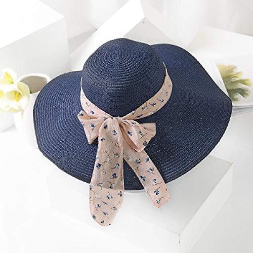 DöllSonnenhut Hut Elegante Frauen Sommer Temperament Strohhut Chiffon Band Schnür Strandkappen Mode Damen Panama Sonnenhut Marine