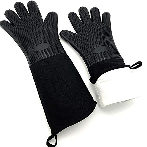 """DAMUZHI Extra Long Silicone 1 Pair,Kitchen Gloves Heat Resistant,Cooking,Baking,Grilling,Oven Mitts Heavy Duty,Black (19.7"""")"""