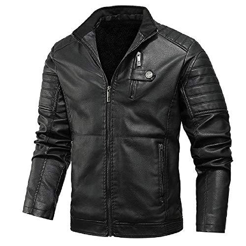 N\P Chaqueta con capucha para hombre de invierno gruesa de cuero para motocicleta para hombre, casual, resistente al viento, abrigo de cuero masculino