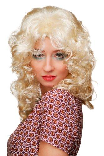 WIG ME UP ® - 3014-P88 Karneval Fasching Perücke voluminös lang Blond Hellblond Engel Angel Christkind Mittelscheitel