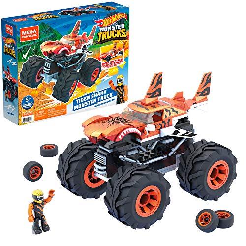 Mega Construx Monster Trucks Tiger Shark Coche de juguete de bloques de...