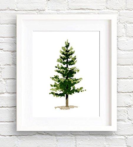 Pine Tree Watercolor Art Print by Artist DJ Rogers
