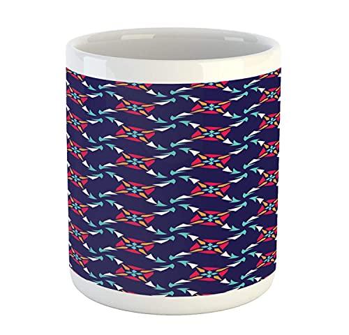 N\A Taza Moderna, Motivos de Molino de Viento Moderno Abstracto Continuo en patrón de composición Colorida, Taza de café de cerámica para Bebidas de té de Agua, 11 oz, Cuarzo Multicolor