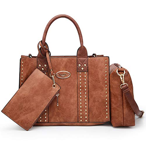 Women Vegan Leather Handbags Fashion Satchel Bags Shoulder Purses Top Handle Work Bags 3pcs Set Brown