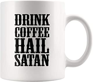 AliceHitMood - Drink Coffee Hail Satan Mug Silicon Valley Gilfoyle Cup Of Coffee, 11oz Ceramic Coffee Mug/Cup, Gift Wrap Available