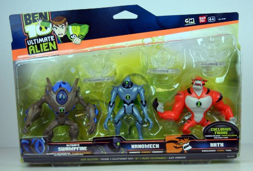 Ben 10 - Ultimate Alien - Figurine à Collectionner 10cm - 3 Figurine Set - Ultimate Régénérator, Nanomech & EXCLUSIF Bingalosaure Figurine avec 3 Ultimatrix Disks - 97202