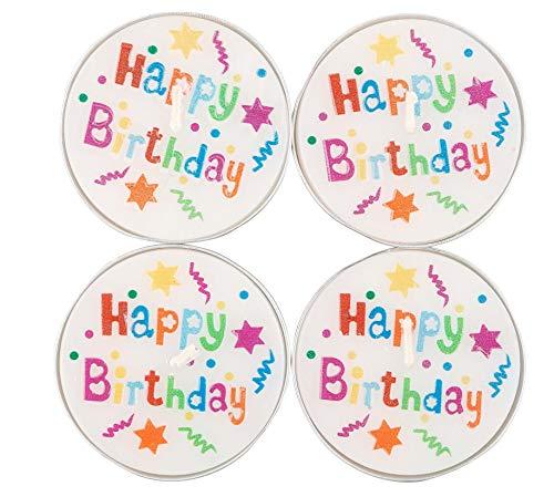Idena CL17AT013 58370 - Teelichter Happy Birthday, 4 Stück, Durchmesser ca. 6 cm, Brenndauer ca. 4 Stunden, Geburtstag, Kindergeburtstag, Kerzen