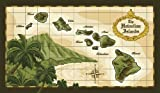 Hawaiian Islands Vintage Style Map Deluxe Velour Beach Towel by GBH