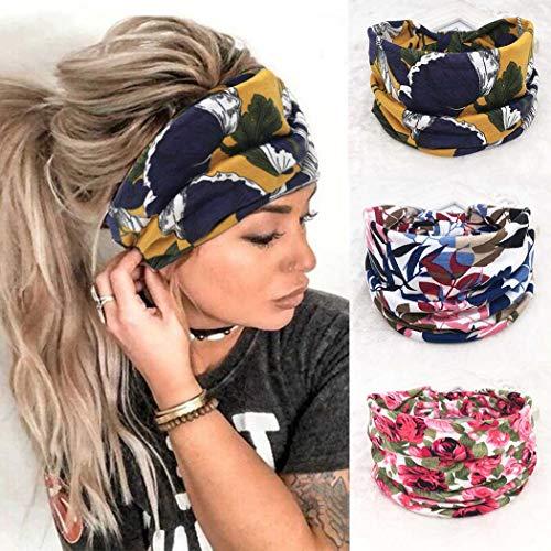 Zoestar Pañuelos anchos boho para la cabeza, con estampado elegante, para yoga, correr, turbante elástico para el pelo para mujeres (paquete de 3)